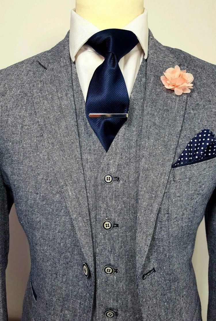 Mens grey piece tweed suit wedding party prom tailored smart