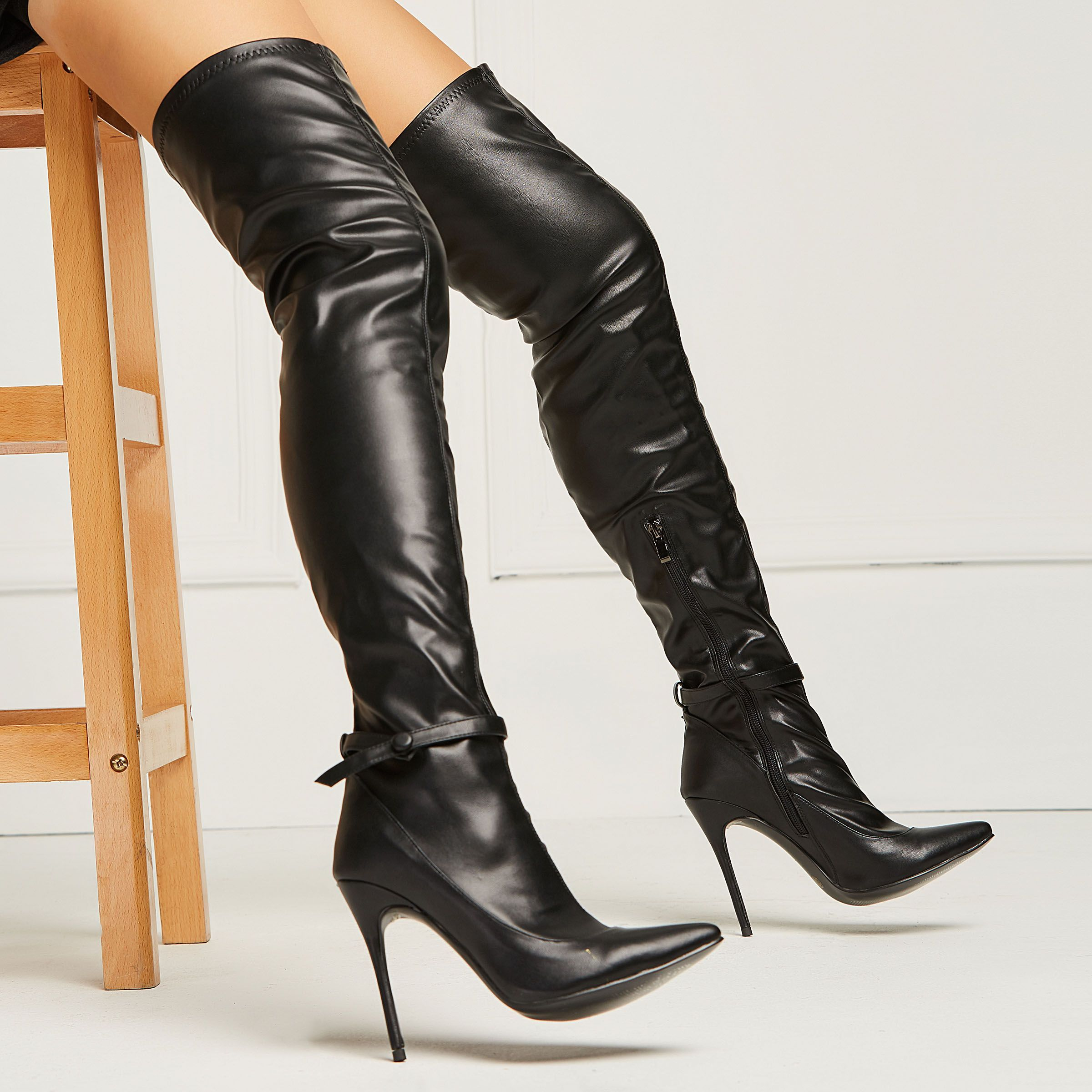 Hot Womens Faux Suede Over Knee Over High Stilettos Heel Pull On Zip Party Boots