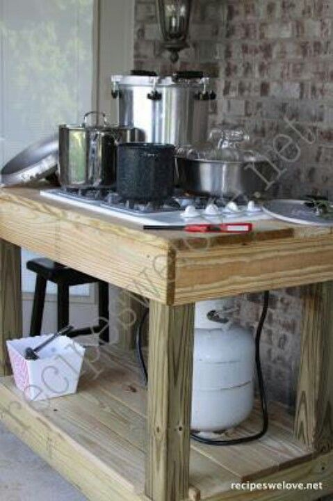 There S 2 Table Top Gas Burners A Deep Fryer On A Stainless Steel Table With A Mini Fridge Sink On Our Enclosed Canning Kitchen Outdoor Kitchen Diy Canning