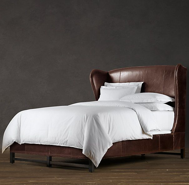 59 French Wing Leather Bed Without Footboard Leather Bed