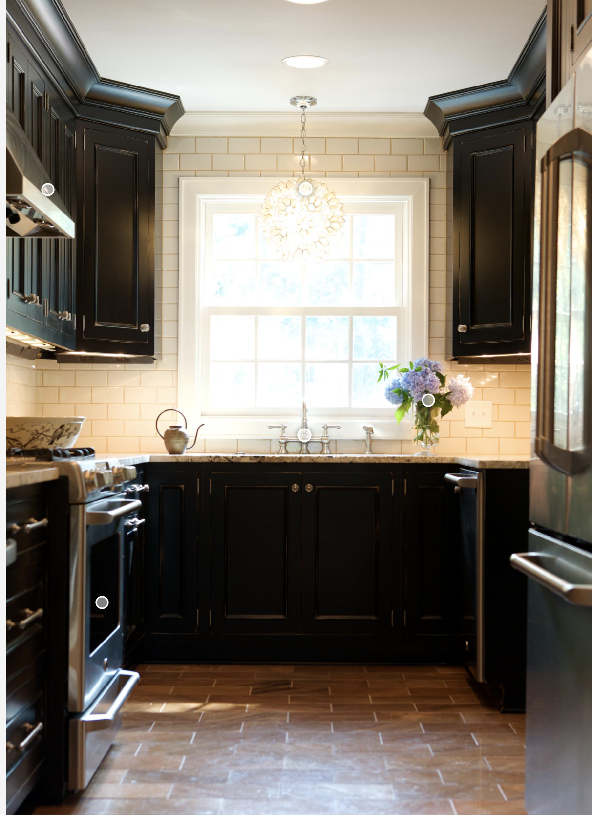 white tile backsplash, mahogany cabinets, brown granite ...
