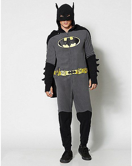 1f85fd46e71 Adult Dropseat Hoodie Footie Batman Onesie Pajamas - Spencer s ...