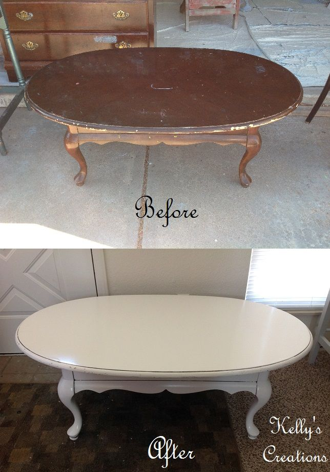 French Provincial coffee table painted white with black antiquing