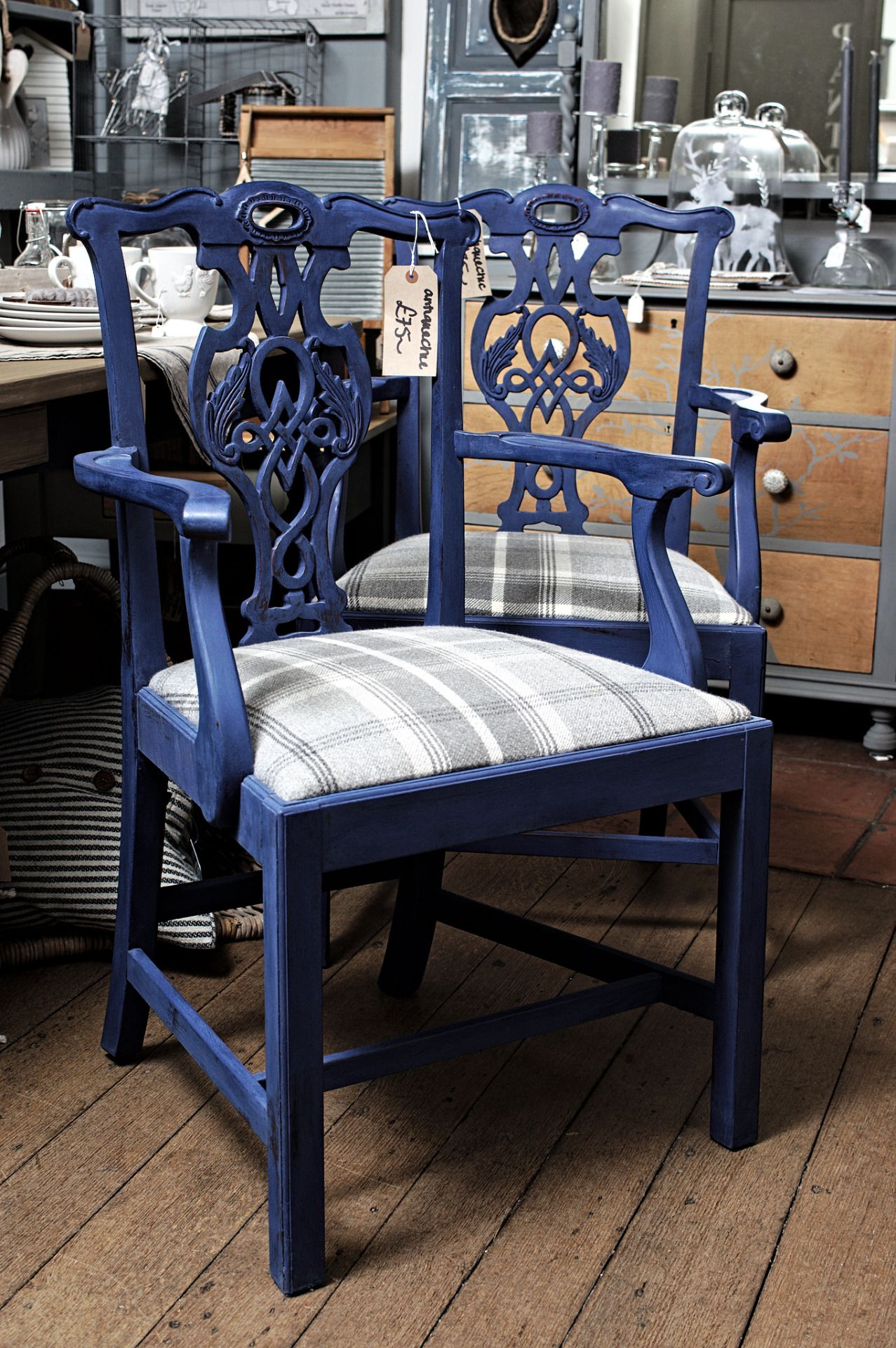 Chairs Painted In Annie Sloan Napoleon Blue And Upholstered In Balmoral Tartan Wool Fabric Rather Painted Dining Chairs Fabric Dining Chairs Blue Dining Chair