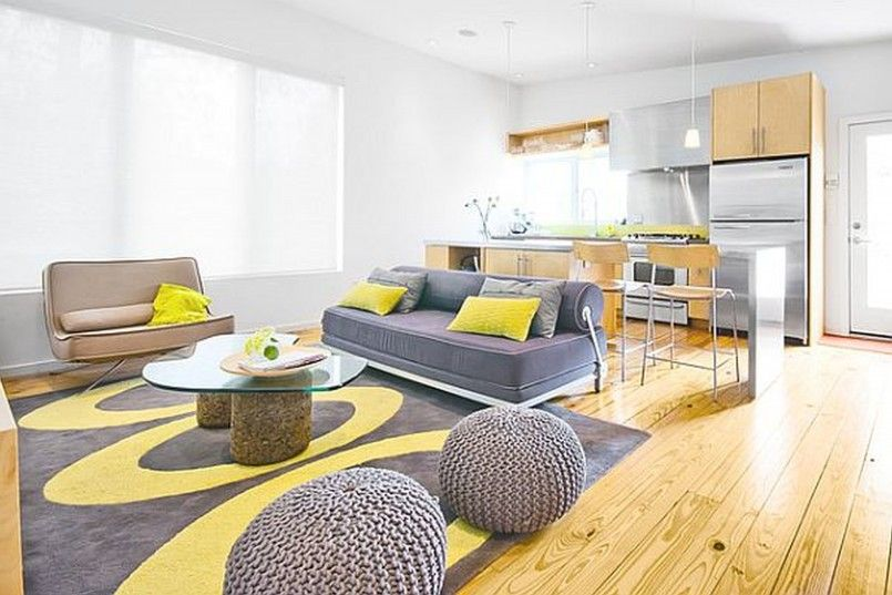 Ideas Grey And Yellow Living Room Wood Texture Laminate Floor Double Gray Round Bean