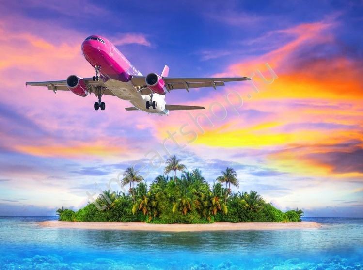 Взлёт над тропическим островом, картина раскраска по ...