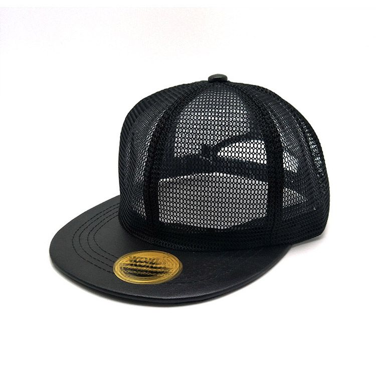 d0c63e35186 Custom high quality flat plain brim trucker cap mesh hat net cap ...