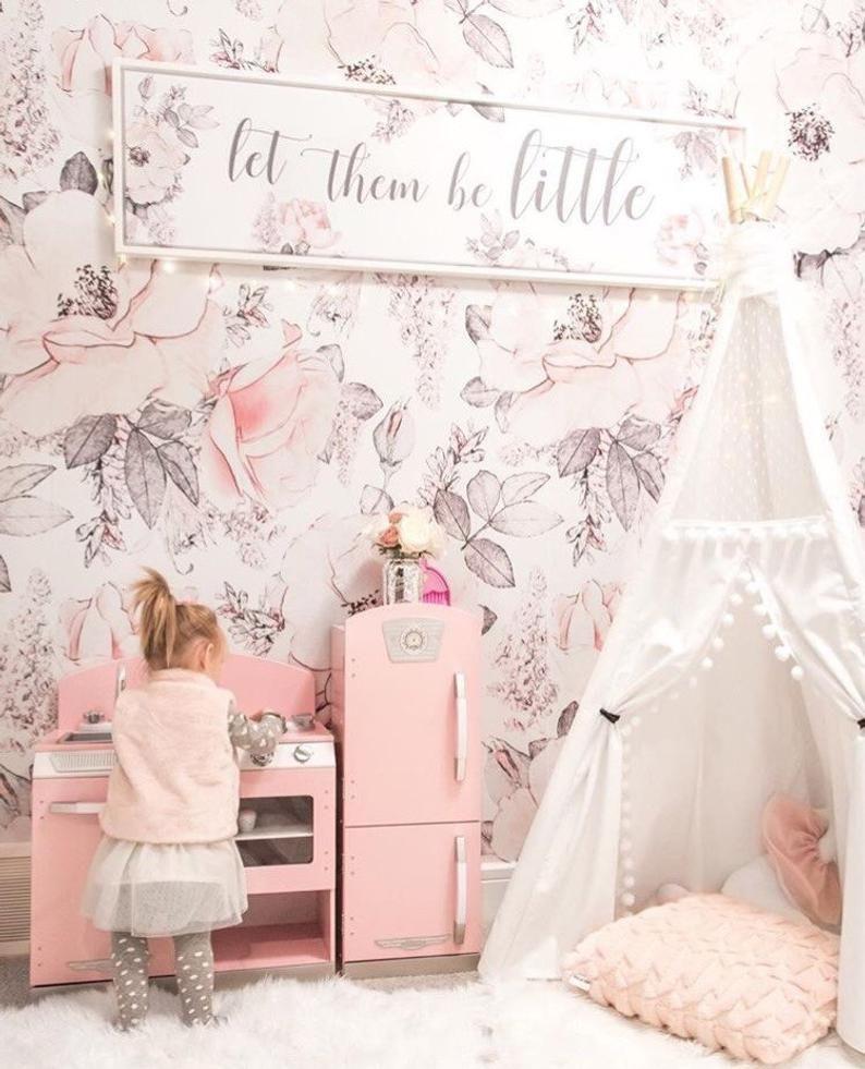 Removable Snowy Rose Wallpaper Mural Peel Stick Nursery Etsy Floral Wallpaper Bedroom Pink Playroom Baby Girl Wallpaper