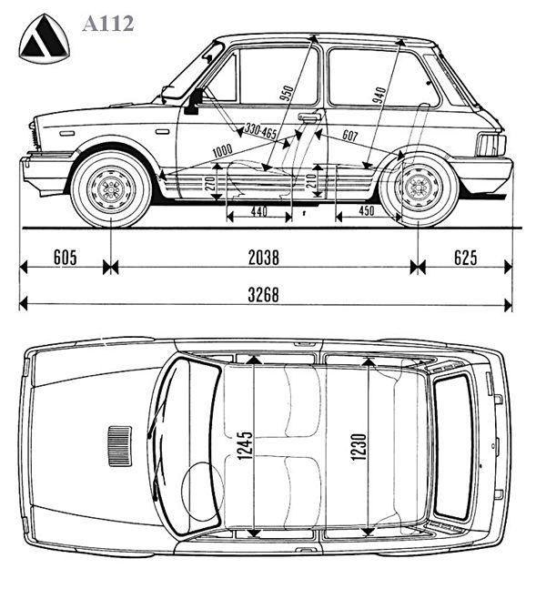 disegno quotato della autobianchi a 112