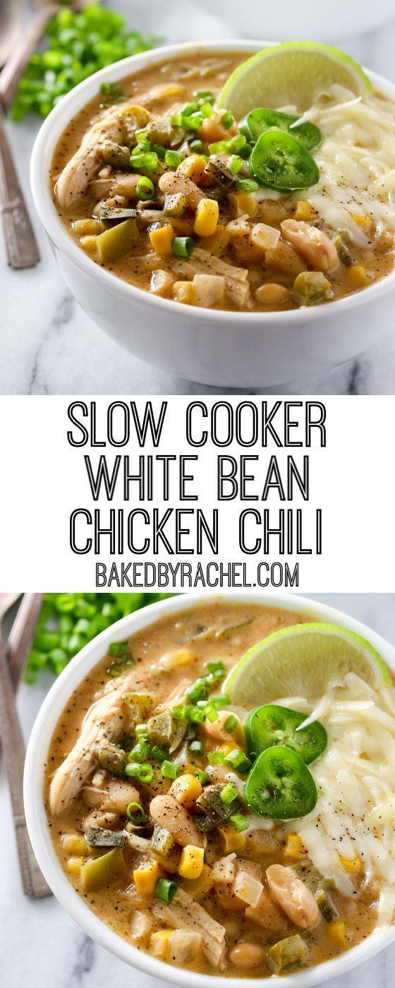 Slow Cooker White Bean Chicken Chili #whitechickenchili
