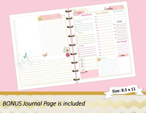 BIG Happy Planner PRINTABLE Daily Calendar by myunclutteredlife - daily calendar printable