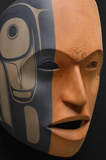 "Phil Gray - Tsimshian Portrait Mask Red Cedar, Pigments 11""h x 9""w x 7""d Stonington Gallery | Previous Exhibits"