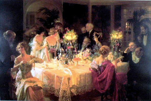Edwardian Dinner Party Painting I Own And Is Hanging On