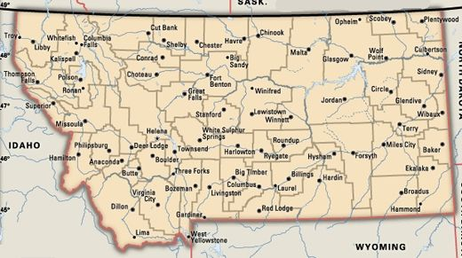 Detailed Map Of Montana Montana Map With Cities And Towns Emaps