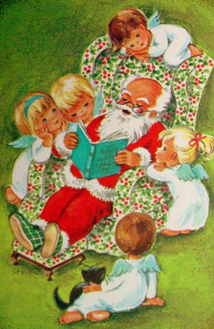 Story time with Santa claus. Reminds me of my dad in