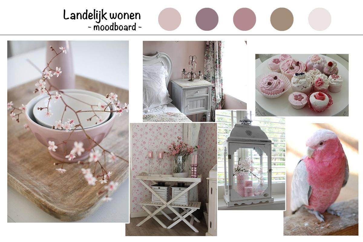 Landelijk wonen. Witte meubels, roze accessoires en bloemetjes ...