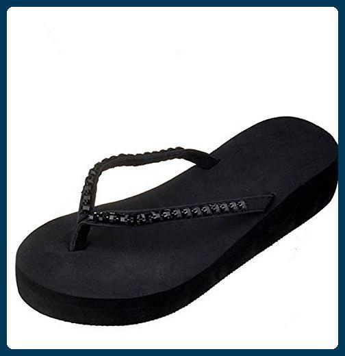 Damen Zehentrenner, Yogogo Sommer Sandalen Slipper Indoor Outdoor Flip-Flops Strand Schuhe (36, Beige)