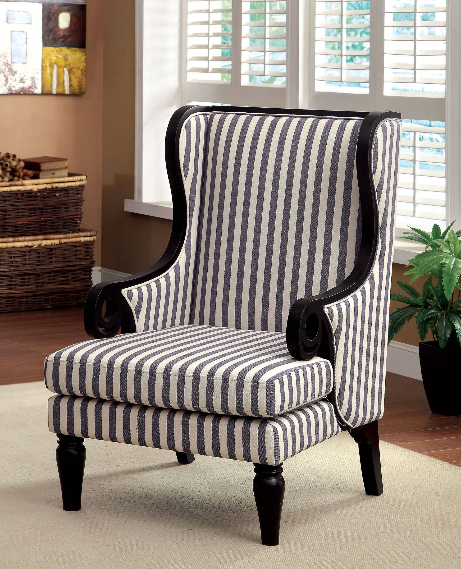 Riviera transitional white dark blue stripe fabric wood accent chair