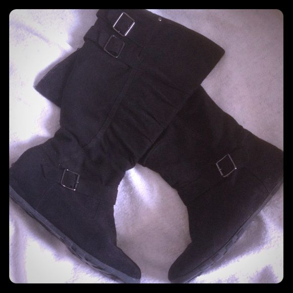Black Buckle Boots  Every girl needs a pair of cute black bootsGreat conditionJust over the calf height No Trades Shoe Dept Shoes