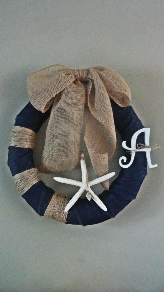 The Favorite Seaside Wreath - Nautical Themed Wreath Featuring Starfish, Denim, Burlap, and Twine, With Monogram on Etsy, $45.00