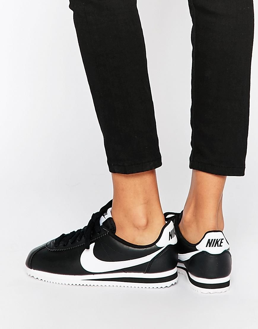 big sale 4ff5a 16f9c Nike  Nike Leather Black Cortez Trainers at ASOS
