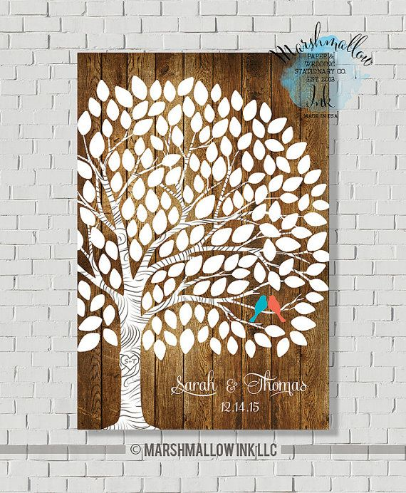 Alternative Guest Book, Wedding Tree, Rustic Guest Book Tree, Wedding Gift for bride, Faux Wood Wedding Signs, Anniversary Gift, Poster  This guest book tree is a great alternative guest book for a modern couple who are looking for something different. This is a rustic wedding design on a faux wood background. Select number of leave by the number of guests. You can personalized this guest book with any font and color from my font and color chart on a 2nd and 3rd image. This is a Wedding…