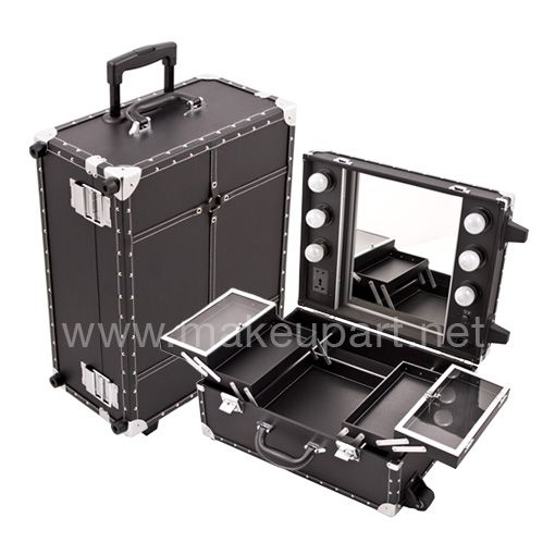 Vanity Suitcase With Lights Mini Studio Makeup Case W Lights Mirror  Black Faux Leather