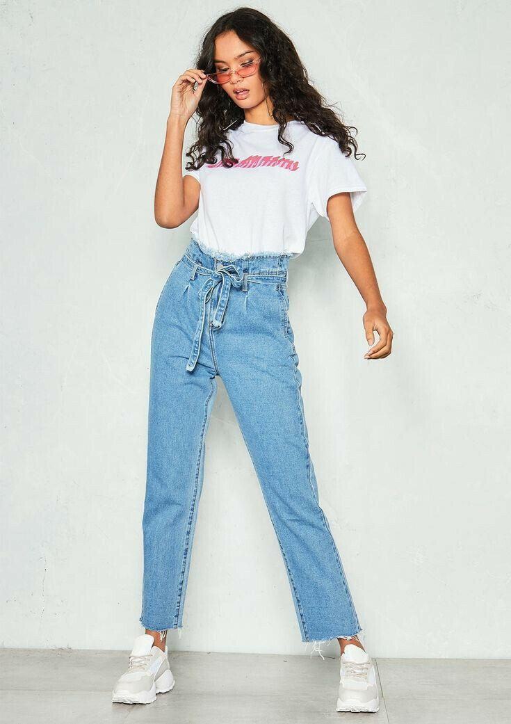 4dbe2e8ef6 paper bag jeans | Divat ekkor: 2019 | Mom jeans outfit, Denim outfit ...