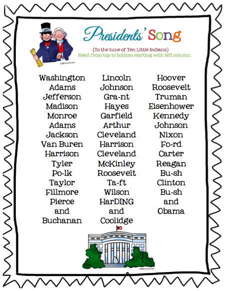 """Presidents List printable (song sung to the tune of """"Ten ..."""