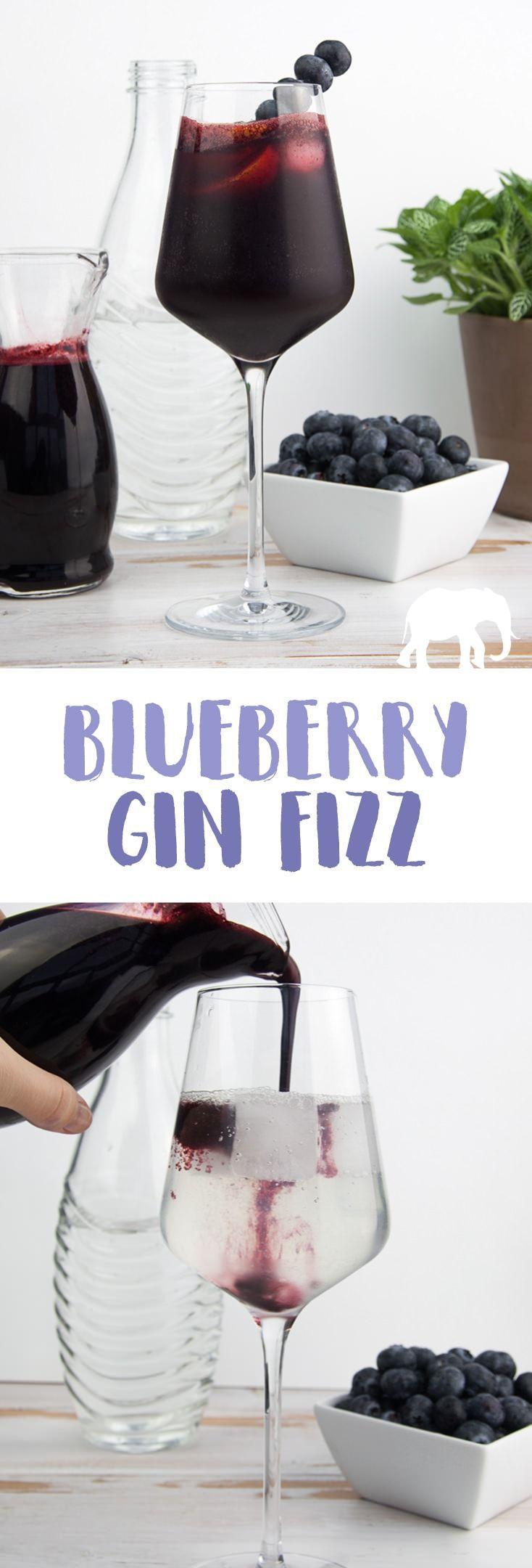 Gin Fizz with homemade blueberry syrup |  via @elephantasticv