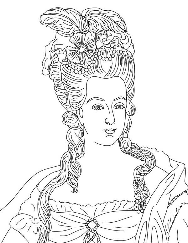 french  french queen reine marie antoinette coloring