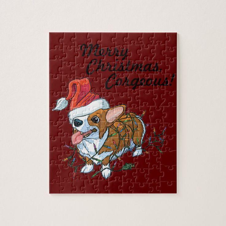 Pembroke Welsh Corgi Puppy Christmas Xmas Lights Jigsaw Puzzle   - Products -