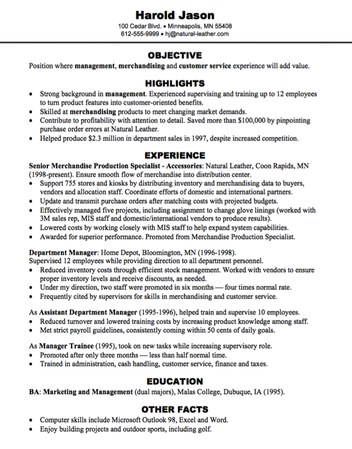 merchandising customer service resume sample http