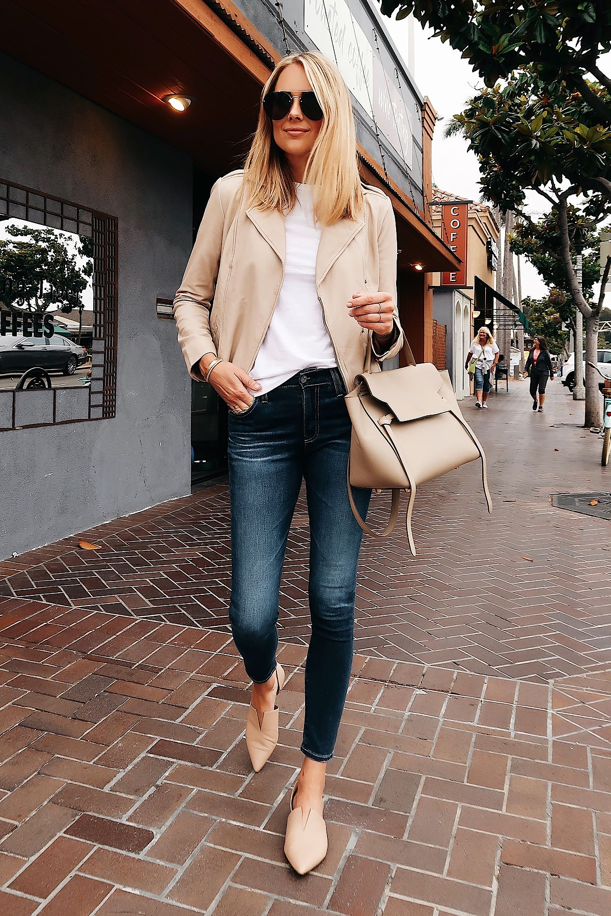 Fashion Jackson Wearing Nordstrom Anniversary Sale Hinge Blush Leather Jacket Topshop White Ts Fashion Jackson Blush Leather Jacket Beige Leather Jacket Outfit [ 1800 x 1200 Pixel ]