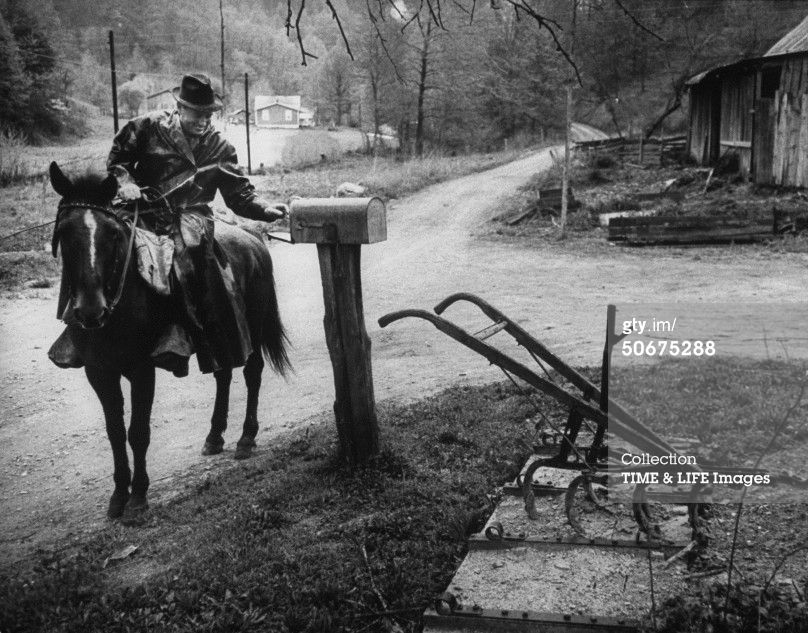 Mail Carrier On Horseback Delivering Mail Old Pictures Old