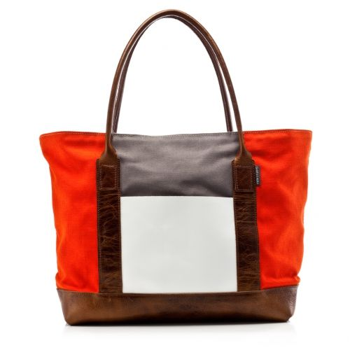 Canvas Boat Bag - Orange/Grey White | Graf & Lantz