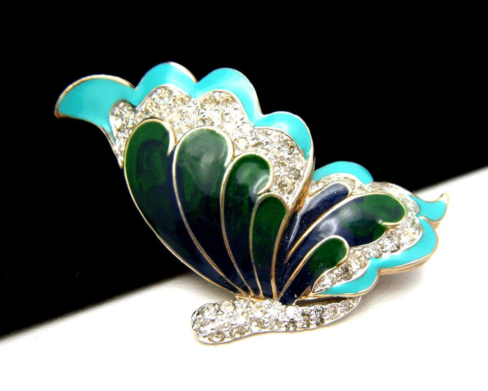 Henry a la Pensee Made in France Art Deco Butterfly Brooch Black Suede /& Diamante Glass Rhinestone Pin Vintage 1940/'s