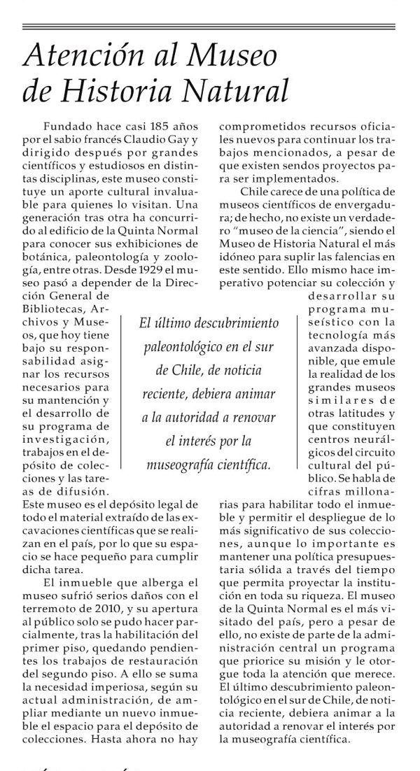 """El editorial del diario El Mercurio destaca al Museo Nacional de Historia Natural: """"Este museo constituye un aporte cultural invaluable para quienes lo visitan"""""""