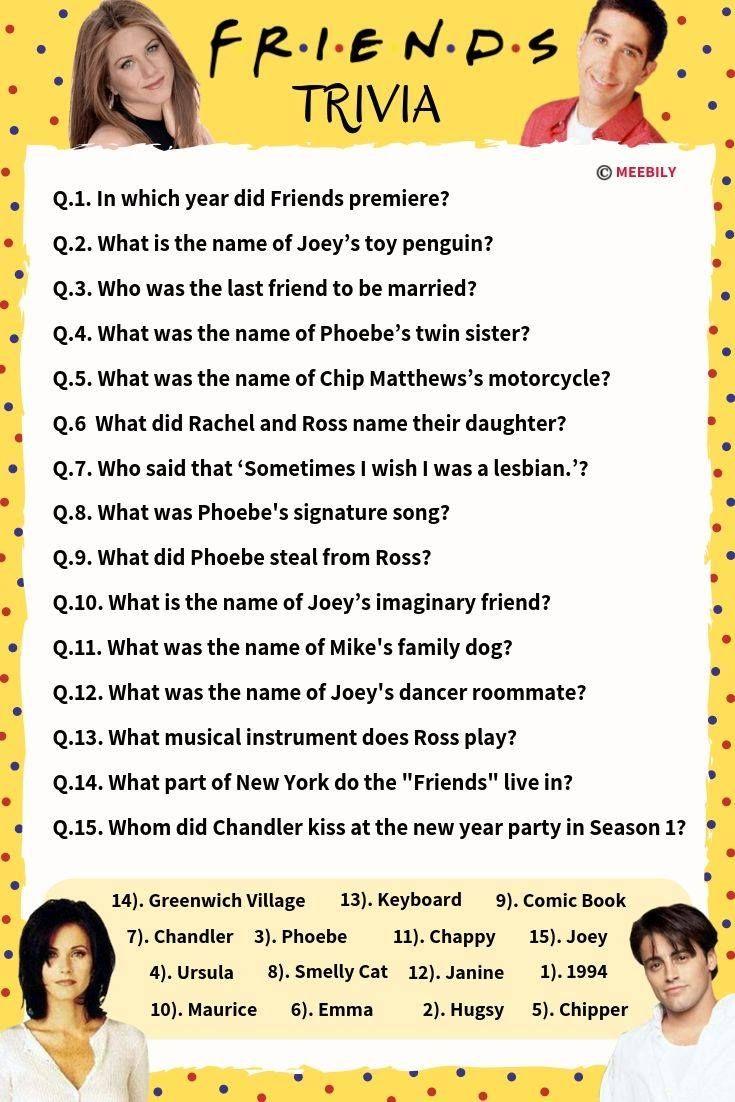 75+ Friends Trivia Questions & Answers Meebily in 2020