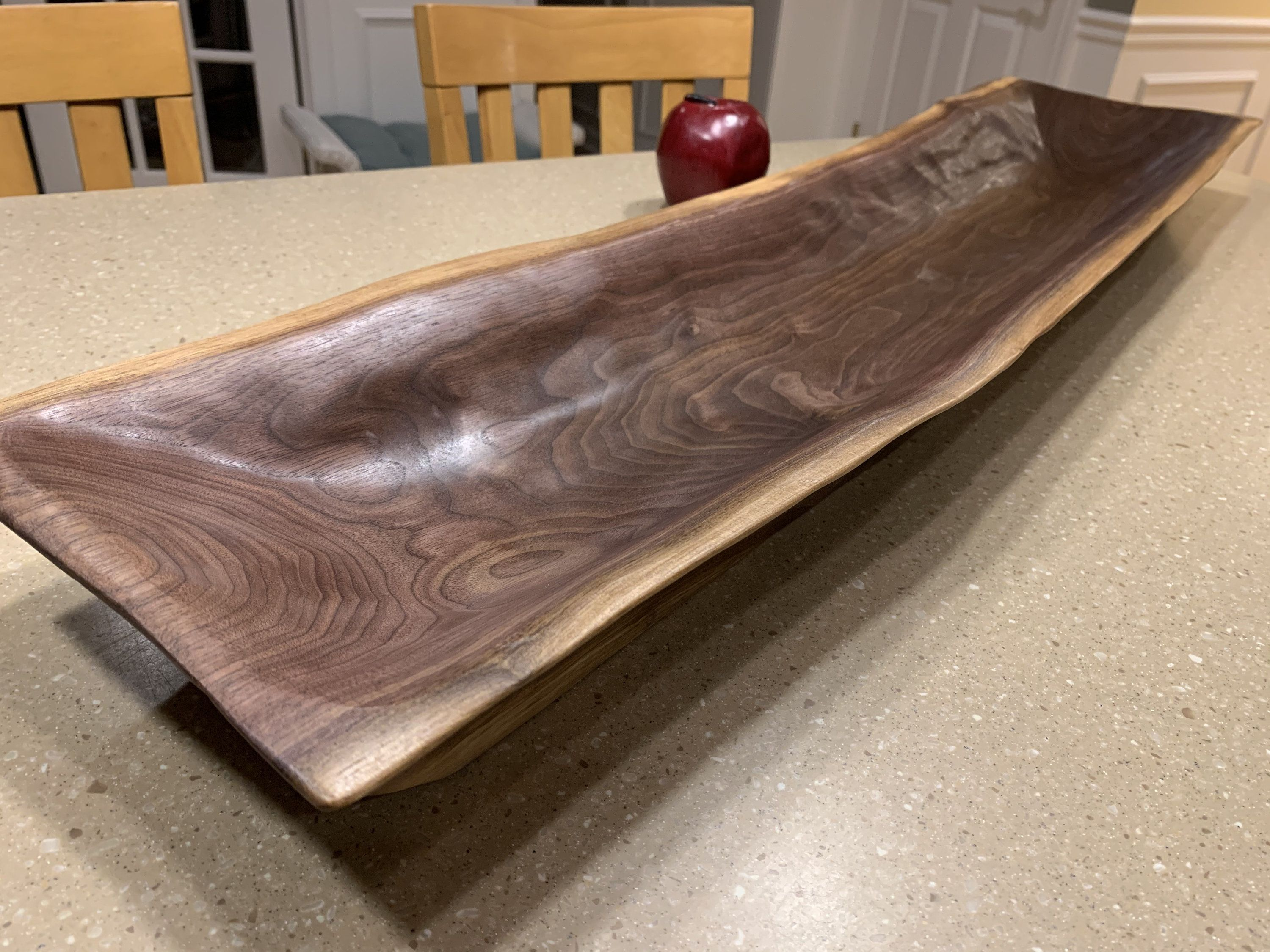 Rustic Wooden Trough Bowl large