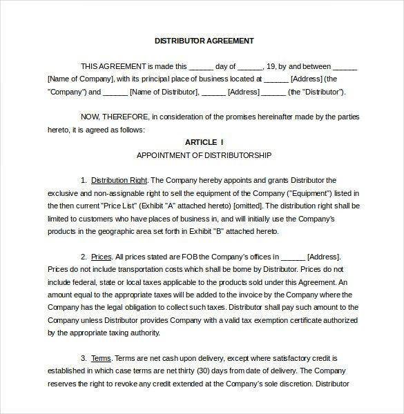 Distribution Agreement Template 11 Free Word Pdf