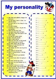 TEST: Personality Adjectives (behaviour) worksheet - Free ESL ...
