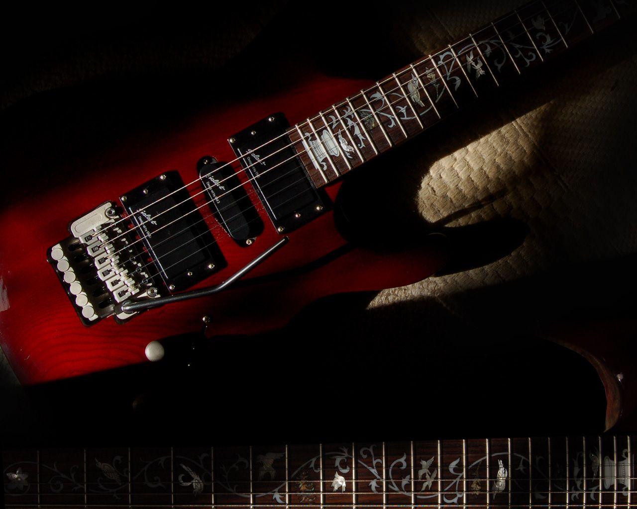 Red Dark Electric Guitar Wallpaper