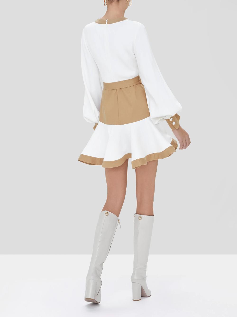 Azuko Dress In Tan White Alexis Fashion Dresses Alexis [ 1333 x 1000 Pixel ]