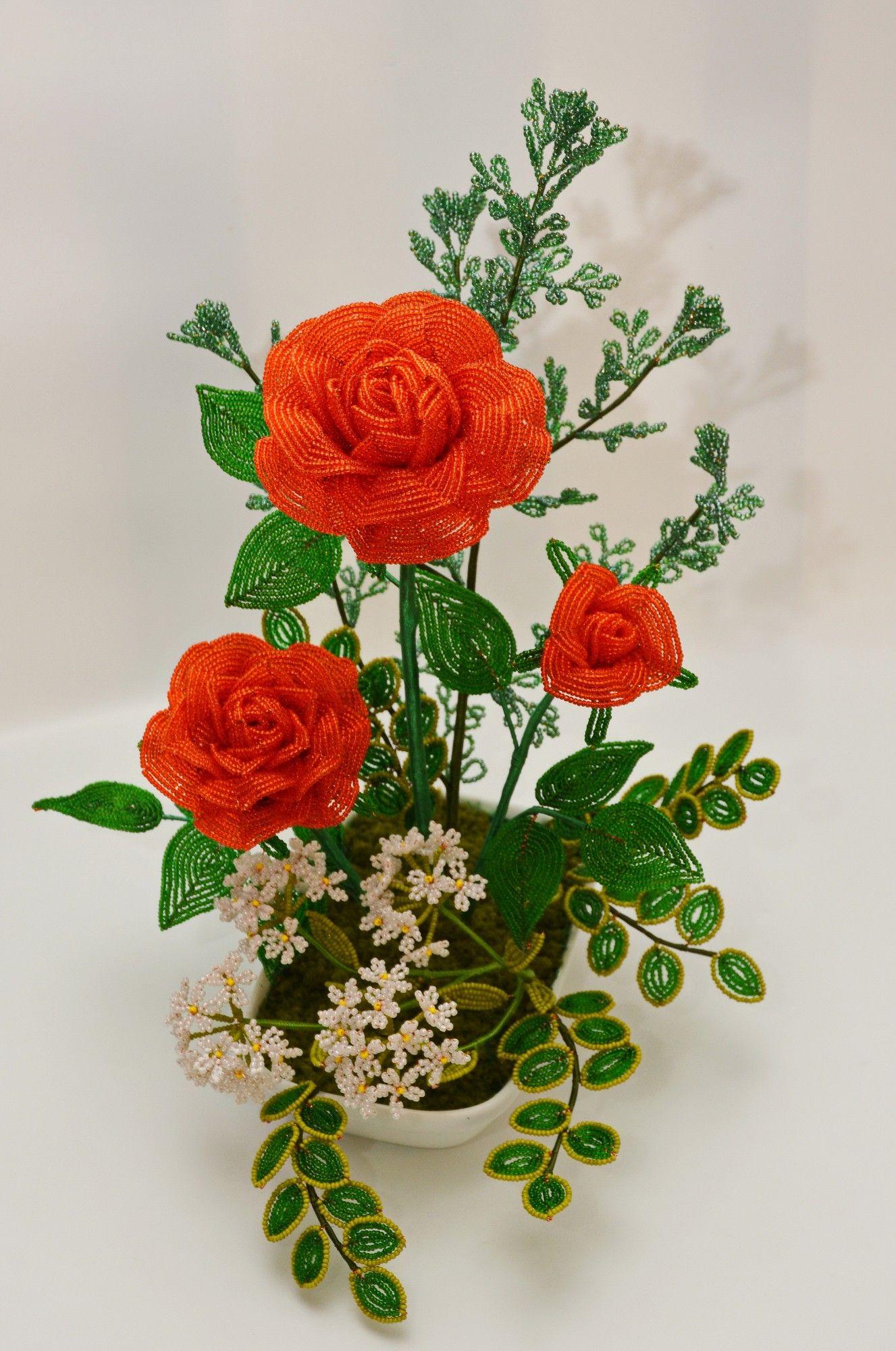 композиция роз из бисера фото них двое детей