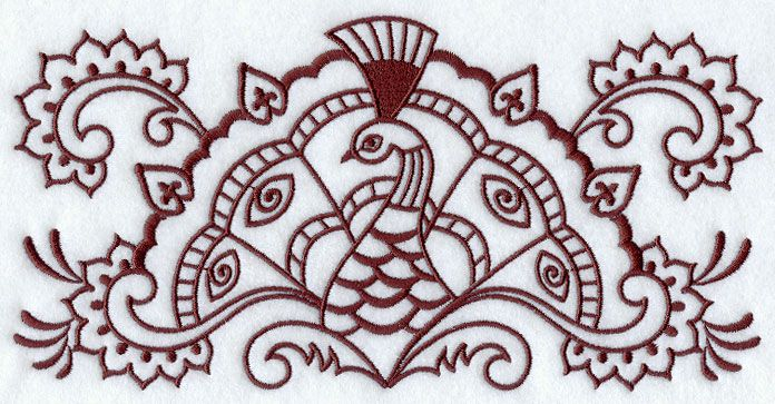 Machine Embroidery Designs At Embroidery Library Mehndi Peacock