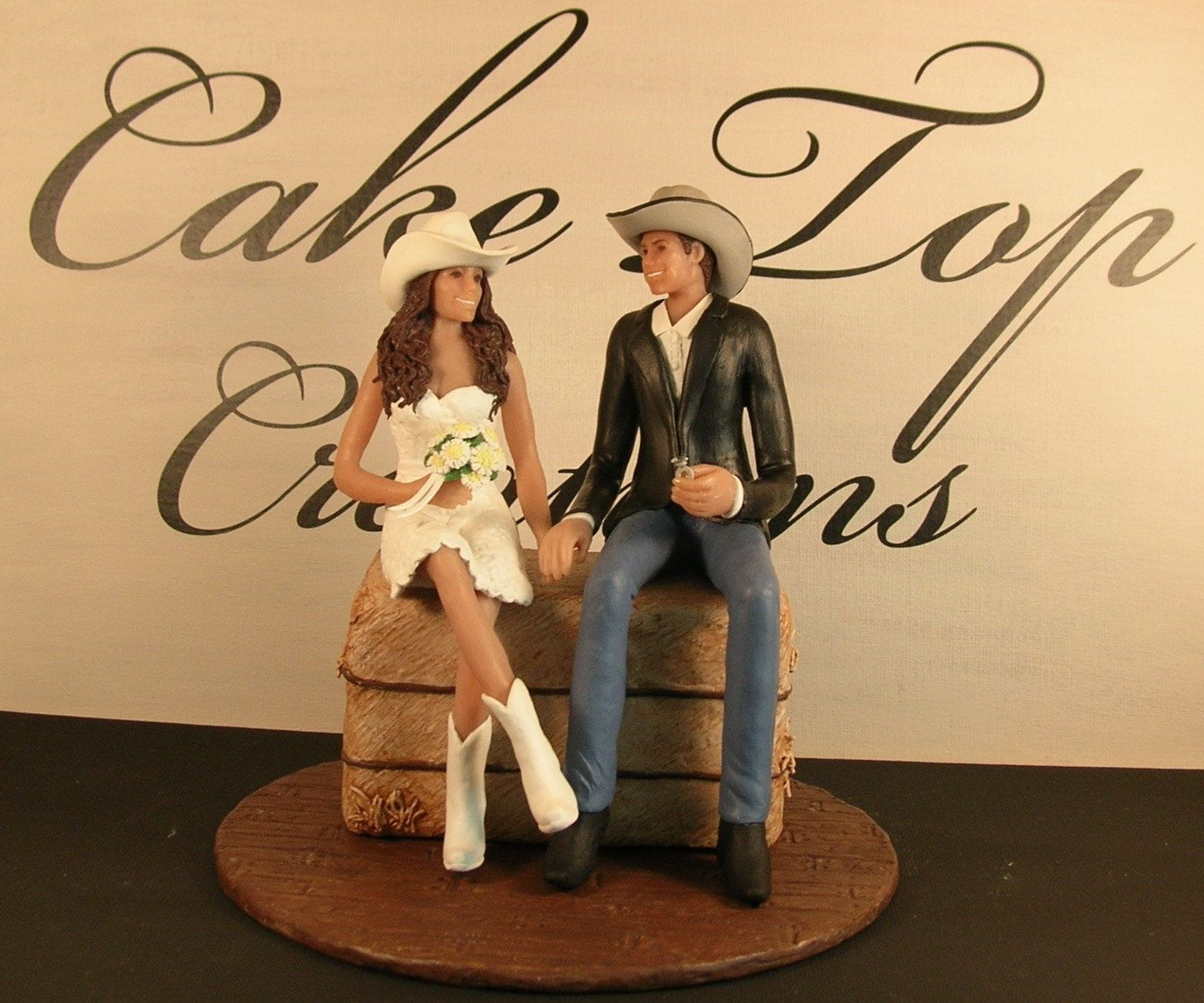 Western Wedding Cake Topper with couple in cowboy hats and boots ...