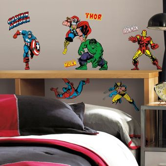 Marvel Classics Wall Decals Roommates Peel And Stick Decor Marvel Bedroom Boys Bedroom Decor Superhero Room