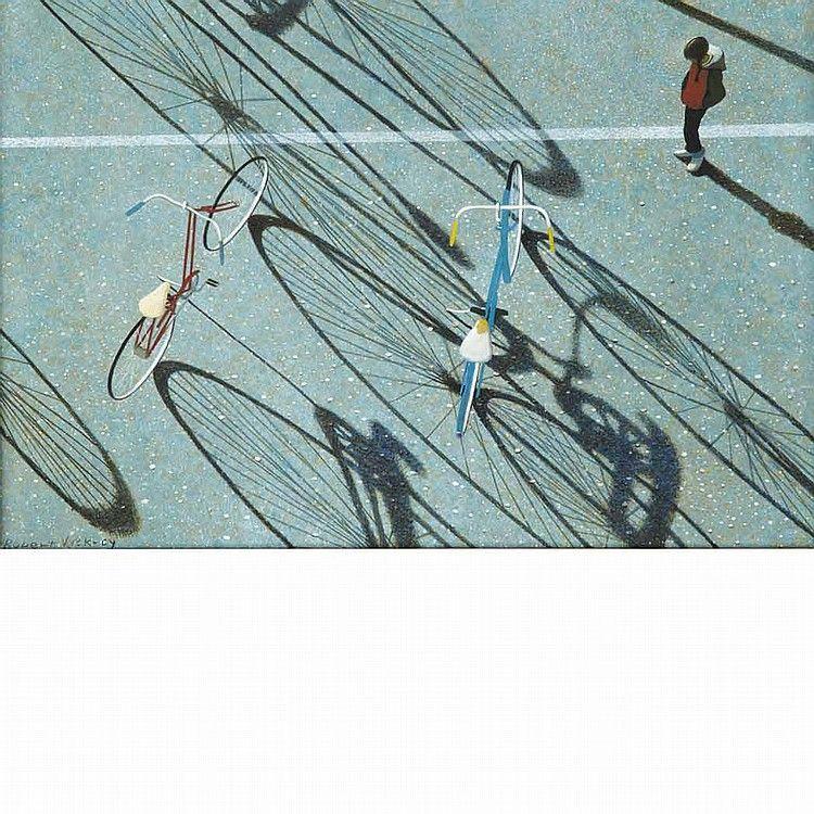 """Cool Shadows,"" Robert Vickrey, egg tempera on Masonite, 8 3/4 x 12 3/4"", private collection."
