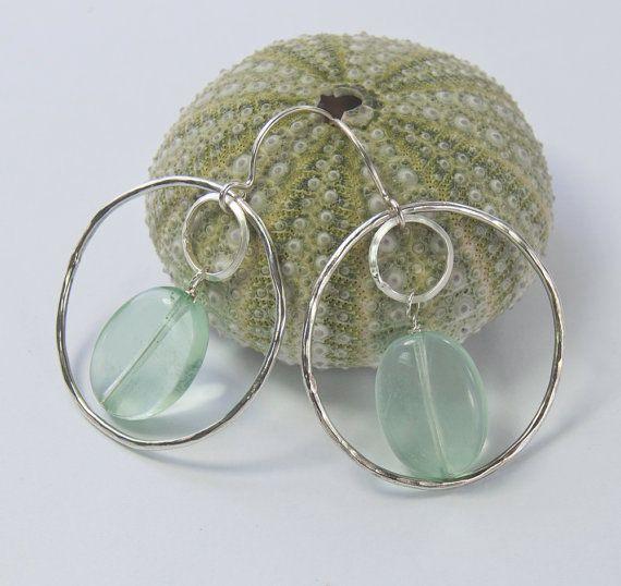Silver Circle Earrings . Pale Green Fluorite by MalibuJewel